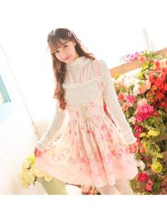 Strawberry Printed Corset Jumper Dress