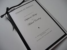 Classic Black & White Wedding Order of Service booklet.