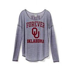 Victoria's Secret University Of Oklahoma Long-Sleeve Drapey Tee ($37) ❤ liked on Polyvore