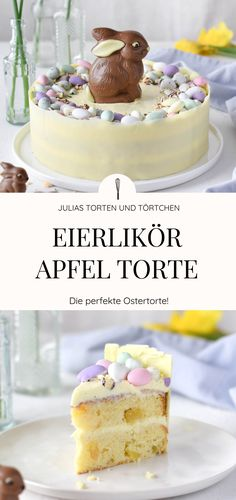 Eierlikör Apfel Ostertorte Eggnog apple Easter cake recipe for juicy Easter cake with eggnog-mascarpone cream and apple-vanilla bottoms. Festively decorated with Easter bunny and mini [. Mini Desserts, Raspberry Recipes, Easter Chocolate, Easter Brunch, Food Cakes, Easter Recipes, Mascarpone Creme, No Bake Cake, Food To Make