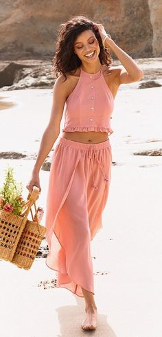 #Summer #Outfits / Salmon Halter Top + Salmon Palazzo Pants