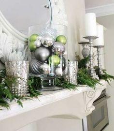 Beautiful mantle display via Family Holiday. #homedecor
