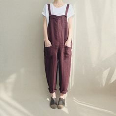 Women Casual Linen Jumpsuits Overalls Pants With Pockets Vintage Linen Harem Pants by Lovecutething on Etsy https://www.etsy.com/listing/503696136/women-casual-linen-jumpsuits-overalls #womensjumpsuitscasual