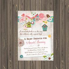 Bird Baby Shower Invitation,Bird House Baby Shower Invitation, Feather the Nest Baby Shower, Gender Neutral, Printable or Printed