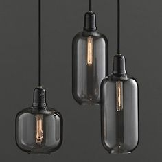 Normann Copenhagen – Amp, suspension et lampe de table - design Simon Legald Farmhouse Lighting, Rustic Lighting, Industrial Lighting, Industrial Hanging Lights, Industrial Bathroom, Industrial Furniture, Vintage Industrial, Modern Lighting, Glass Pendant Light