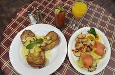La Dolce Vita in the ghettos of detroit...lolz its funny i found this pic cause last time i was there i ordered all u can drink mimosa/bloody mary, this exact french toast, which was stuffed with mascarpone, and the eggs sardou that you see here...omg so good