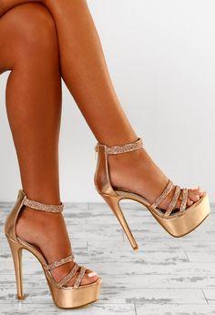 09287c2463154a Hollywood Vixen Rose Gold Diamante Strap Platform Heels - UK 3