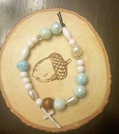 Rosary bracelet, friendship bracelet, beaded, light blue crystals, white beads, pearls, cross charm, girly bracelet, stretch bracelet