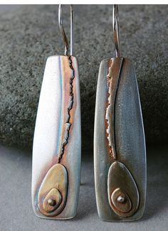 Not liking the brass brush finish on this, I buffed it with a medium fiber wheel and reapplied the patina. Mixed Metal Jewelry, Metal Clay Jewelry, Jewelry Art, Jewelry Design, Jewellery, Polymer Clay Art, Polymer Clay Earrings, Artisan Jewelry, Handcrafted Jewelry