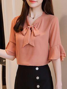 Cheap Blouses Blouses For Women Hijab Fashion Korean Fashion Blouse Styles I Love Fashion Blazers Nice Dresses Ruffle Blouse Hijab Fashion, Fashion Outfits, Womens Fashion, Latest Fashion, Suits For Women, Blouses For Women, Cheap Blouses, Moda Formal, Moda Outfits