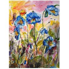 #Blue #Poppies Flower Painting Wildflowers - Original Watercolor Painting by Ginette