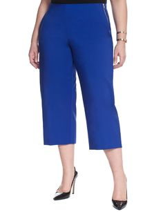 Eloquii Plus Size Side Zip Culotte - Blue Curvy Fashion, Plus Size Fashion, Full Figured Women, Plus Size Shorts, Plus Size Beauty, Jeans Pants, Size 16, Couture, Zip