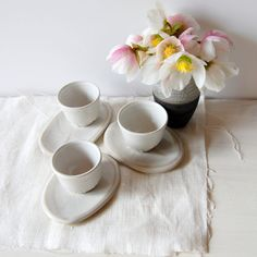 Espresso cups Set of three cups and saucers Sake by PotsbyNives