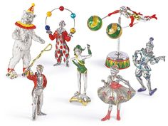 A group of silver and enamel circus figures, designed by Gene Moore for Tiffany & Co., New York, circa 1990