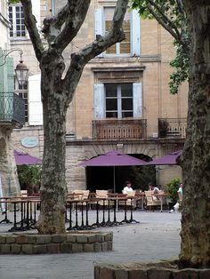 Cafe in the town square, Uzes, Languedoc, France
