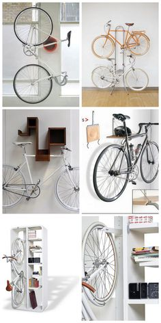 pleanty more ways to do it Bike Hanger, Bike Rack, Bicycle Shop, Bicycle Art, Bicycle Wall Mount, Brick Feature Wall, Range Velo, Slider, Bicycle Storage