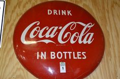 "Vintage 48"" Coca Cola Button Ad Sign - Minor Scratches http://comasmontgomery.com/index.php?ap=1&pid=40645"