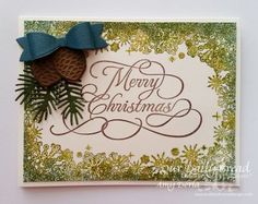 Our Daily Bread Designs Stamp sets: Flourished Merry Christmas, Snowflake Border Background, Our Daily Bread Designs Custom Dies: Small Bow, Lovely Leaves, Pinecones