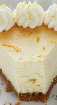 Lemon Ricotta Cheesecake ~ Sweet and creamy, this easy-to-make cheesecake is the perfect addition to any dessert table! Lemon Ricotta Cheesecake, Cheesecake Recipes, Dessert Recipes, Just Desserts, Delicious Desserts, Yummy Food, Let Them Eat Cake, Dessert Table, Cupcake Cakes