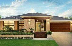 Single story modern home design simple contemporary house plans throughout single story house design ideas Contemporary House Plans, House Front, Modern House Design, House Exterior, Facade Design, Exterior Design, Mediterranean Homes, Contemporary House, House Designs Exterior