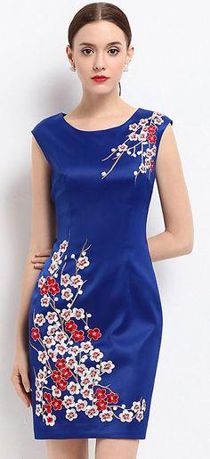 Vintage Plum Blossom Print O-Neck Short Sleeve Bodycon Dress #bodycondresscasual