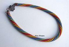 AN057 Perle häkeln Halskette Perlen braun bunt gestreift
