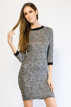 CASUAL MARLED KNIT DRESS $16.99
