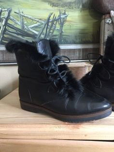 Women's Kamouraska Canada Black Leather Wool Fur Lace Up Ankle Boots Wow 7B 37 | eBay