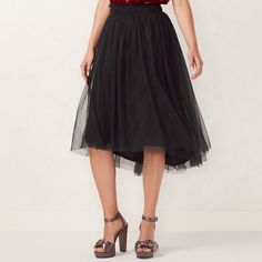 Women's LC Lauren Conrad Flocked Tulle Midi Skirt, Size: Medium, Black