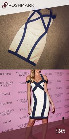 Candice Swanepoel inspired Bandage Dress Curve-loving BodyCon bandage dress, size Medium. Brand New, never worn. White with dark blue trim. Dresses