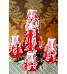Free shipping. Carved canles set. For Valentine Day. от solandmary