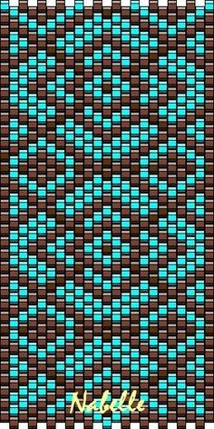 Grille turquoise chocolat - Les 1001 trésors d'Annabelle Hallo an dich! Peyote Beading Patterns, Peyote Stitch Patterns, Seed Bead Patterns, Beaded Bracelet Patterns, Loom Beading, Peyote Stitch Tutorial, Loom Bracelets, Bead Earrings, Bead Loom Patterns