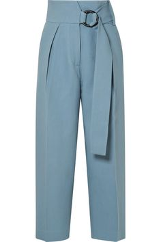 Petar Petrov - Hayes cropped belted wool and silk-blend wide-leg pants, Petar Petrov - Hayes Cropped Belted Wool And Silk-blend Wide-leg Pants - Light blue. Fashion Pants, Fashion Dresses, Pantalon Large, Mode Streetwear, Pants Pattern, Look Chic, Valentino Garavani, Wide Leg Pants, Ankle Pants