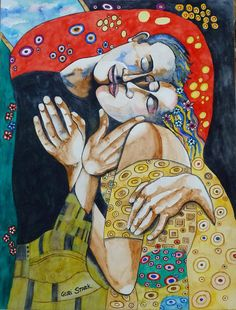 The Kiss - Tribute To Gustav Klimt Painting  - The Kiss - Tribute To Gustav Klimt Fine Art Print
