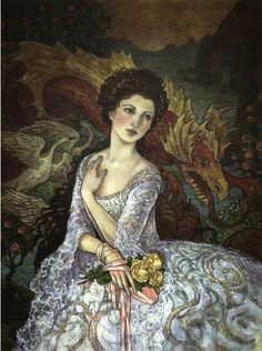 ~swan/dragon-tapestry fancy-gown woman illustration by Rebecca Guay