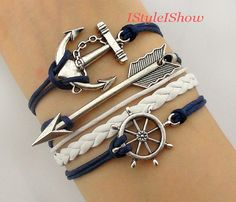 Anchor bracelet,Rudder Bracelet,Arrow charm bracelet--Antique Silver Bracelet,friendship bracelet-Best Chosen Gift on Etsy, $5.99