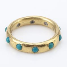 Giotto turquoise and 20k gold ring