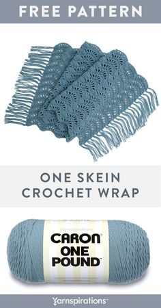 Free One Skein Wrap Crochet pattern using Caron One Pound yarn. Stitch a breezy wrap to match your spring ensembles. Give your crochet wrap an elegant finish with a delicate tasseled edge. One Skein Crochet, Crochet Wrap Pattern, Crochet Scarves, Easy Crochet, Crochet Clothes, Crochet Stitches, Free Crochet, Crochet Patterns, Crochet Prayer Shawls
