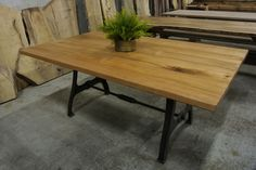 Maple industrial table on R.I. Legs. Made in Providence R.I. by Lorimer Workshop.