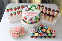 Fantastic treats at a Very Hungry Caterpillar birthday party! See more party ideas at CatchMyParty.com!