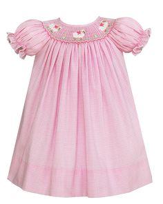 Petit Bebe Infant / Toddler Girls Pink Check Smocked Baby Lambs Dress - Bishop
