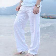 c2a03f3b1b88 Men s Summer Casual Natural Cotton Linen Trousers