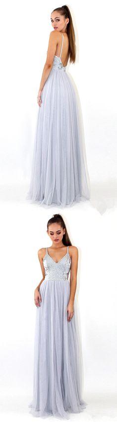 2018 Floor-length Grey Sequins Backless Deep V-neck Spaghetti Strap Evening Dress, Prom Dress, PD0428