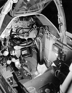Close-up view of a P-38G Lightning aircraft cockpit, date unknown; note the yoke rather than stick control