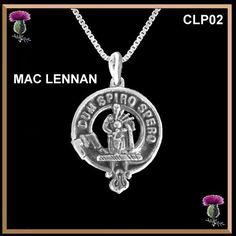 MAC LENNAN Clan Crest Sterling Silver Pendant With Chain. DUM SPIRO SPERO