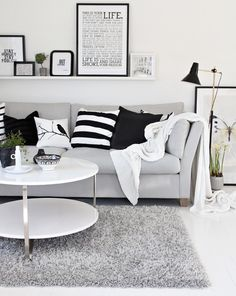 Clean modern living room. Black and white.