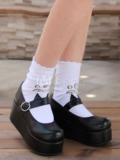 18d89ca1f541 Gothic Lolita Shoes Black Platform Mary Jane Lolita Shoes With Cat Ear