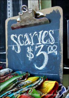 Scarves Chalkboard Clip Board Aux Great idea!