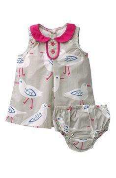 Peter Pan collar, buttons, bird print. Plus, a matching diaper cover.