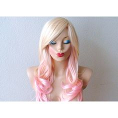 Blonde Pink Ombre Wig Pastel Pink Hair Curly Hairstyle With Long Side... ($130) ❤ liked on Polyvore featuring beauty products, haircare, hair styling tools, hair, bath & beauty, hair care, silver, wigs and curly hair care